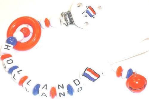 Schnullerkette mit Namen Holland Fußball Flagge Baby Junge Mädchen
