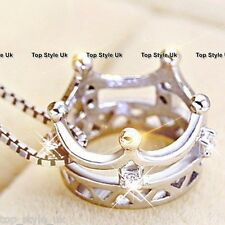 925 Sterling Silver 3D Queen Crown Necklace Pendant Gift for Mum Wife Daughter