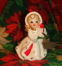 VINTAGE JAPAN NAPCO NAPCOWARE X-8338 CHRISTMAS GIRL CANDLE HOLDER HAND PAINTED