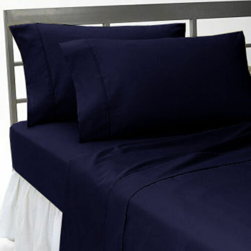 800//1000//1200//1500 TC Egyptian Cotton Bedding Items Navy Blue Solid All US Sizes