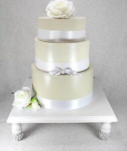 Image Is Loading White Amp Silver Square Wedding Cake Stand Cupcake