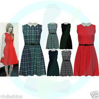 Ladies Womens Skater Dress Belted Tartan Check Peter Pan Collar Mini Party 8 14
