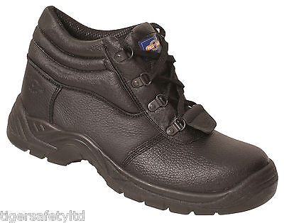 Pro Man PM4002 S3 Ladies Black Leather Steel Toe Cap Safety Boots Work Boots PPE