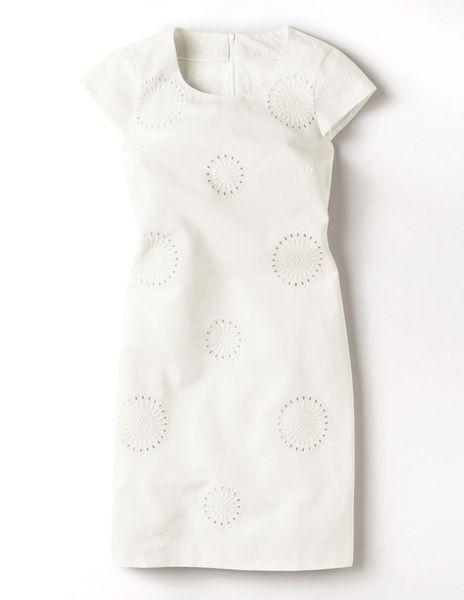 New Boden Ivory Embroiderot Shift Dress Größe US 14 L