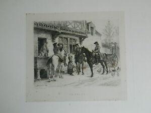 Grabado Halte Devant Una Auberge Meissonier Jean-Louis-Ernest Léop. Flameng 1862