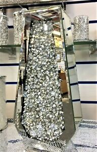Sparkle Palace Diamond Crushed Crystal Sparkly Silver Mirrored Floor Vase 40CM✨