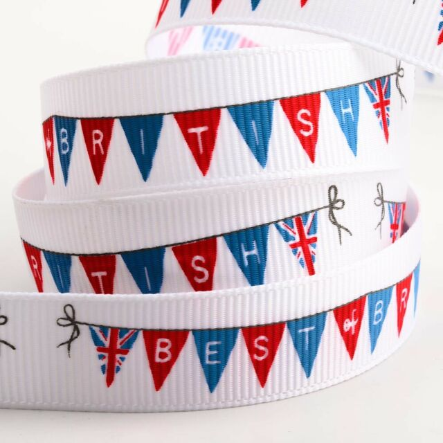PATRIOTIC GREAT BRITAIN UNION JACK SATIN RIBBON 5M SEWING DECORATIONS 25mm WIDE