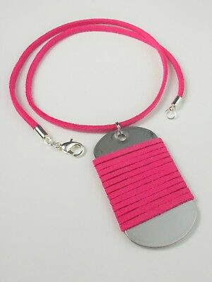 Army Military Dog Tag Men/'s Suede Leather Pendant Necklace Lobster Clasp Unisex