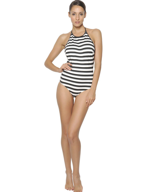 NWT Chloe Horizontal Stripe One Piece SwimsuitSize XLarge 48 Sold Out
