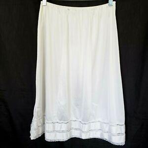 Vtg-Body-Lites-L-Lg-Half-Slip-White-Ivory-Adjustable-Length-Side-Slit-JCPenney