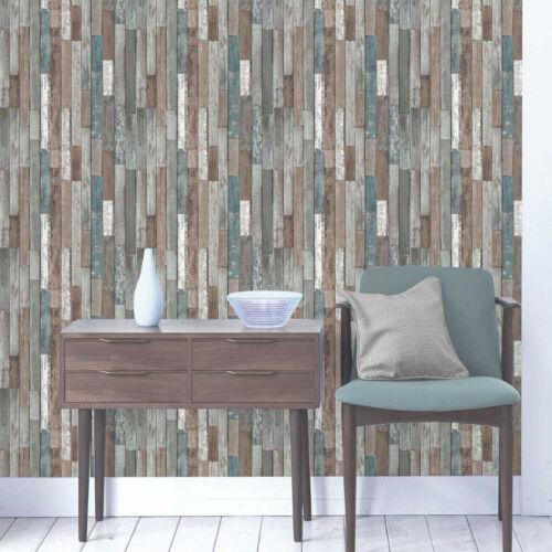 Natural Wood Wallpaper Rustic Wooden Reclaim Log Heavyweight Feature Fine Decor