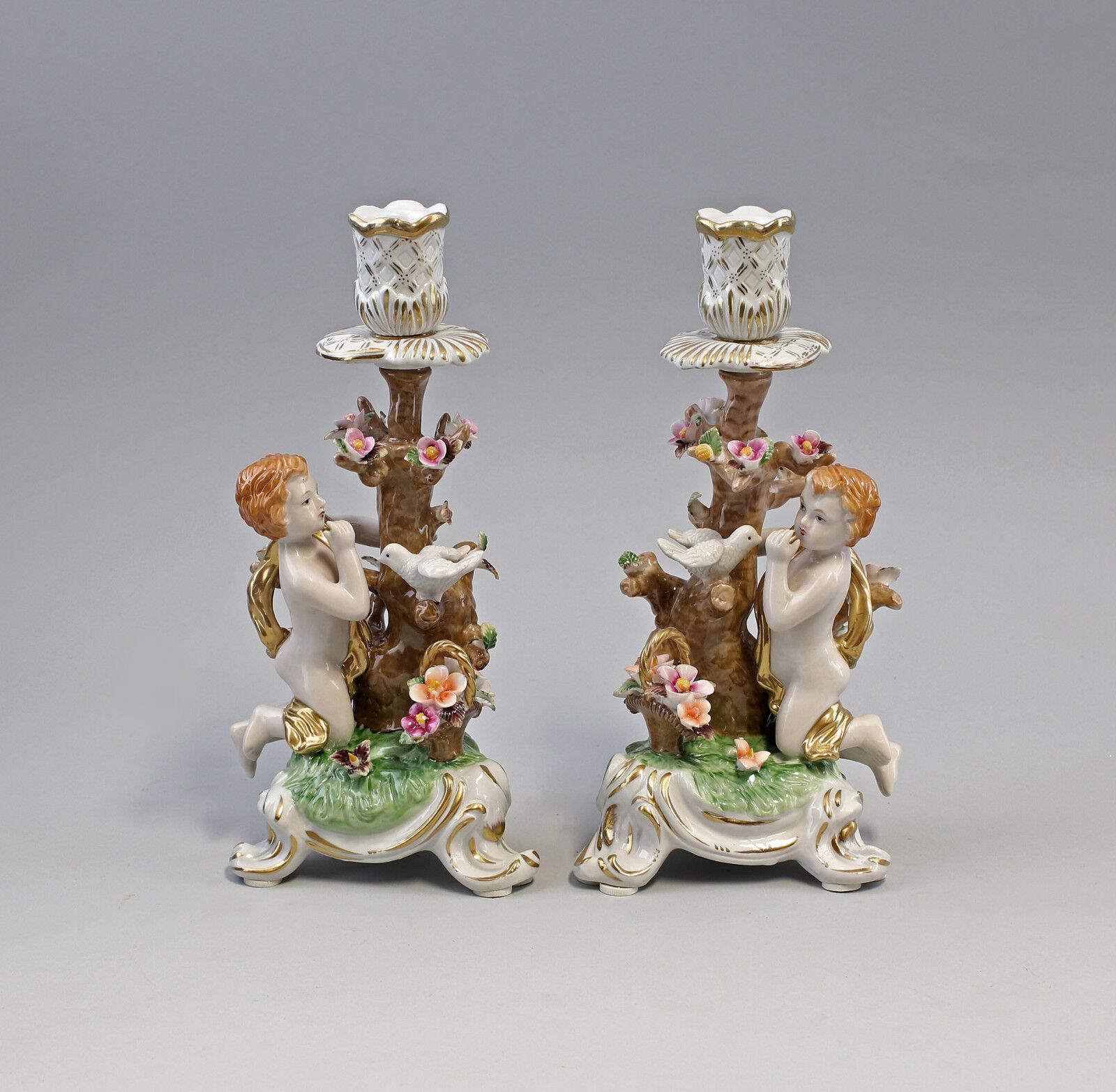 Paar Porzellan Leuchter Kerzenständer Putto an Baum mit Taube neu 9987241