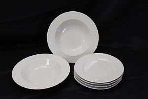 Oneida-Wicker-Salad-Plates-and-Rim-Soup-Bowls-White-Lot-of-6