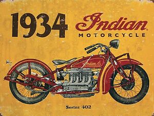 bar Indian Motorcycles Advert Vintage Retro style Metal Sign garage. man cave