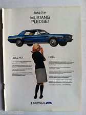 1967 FORD MUSTANG HARDTOP I WILL NOT... - TAKE THE MUSTANG PLEDGE ORGINAL AD