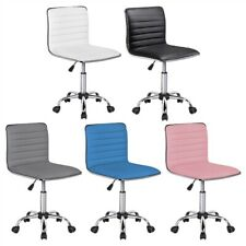 Armless Office Desk Chair Swivel Task Chair Low Back Pu Leather Ribbered Used