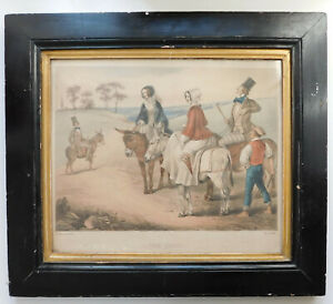 Framed-print-Donkey-derby-race-picture-Henning-The-Start-antique-Victorian-Giles