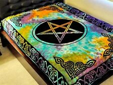 """Pentacle Multi Color Tie Dye Tapestry 72 x 108"""" Wiccan Pagan Altar Supply TP24TD"""