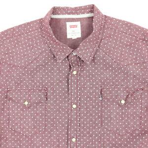 LEVIs-Chambray-Western-Pearl-Snap-Shirt-Mens-3XL-Short-Sleeve