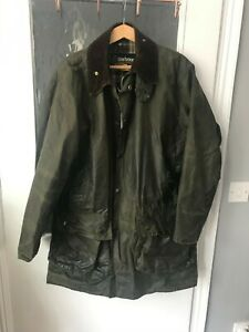 Barbour-Border-Waxed-Jacket-Size-40in-102cm-Mens-Olive-Green