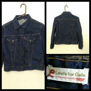 Auschecken Original- Abstand wählen Details zu Levi's Jeansjacke Mädchen Jugend Lg. Dunkelblau 2 Tasche  Druckknopf Up Inv #