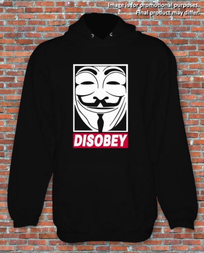 Disobey V for Vendetta Guy Fawkes Movie Comic Inspired Hoodie S to 2XL Adults