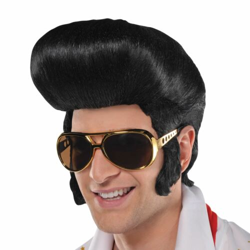 50s Elvis Black Large Quiff Wig Sideburns Rockstar Stag Do Fancy Dress Accessory