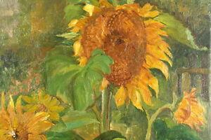 Berthold-Exner-1901-1990-Blumenstilleben-Sonnenblumen-Olgemaelde-Kiel-Antik