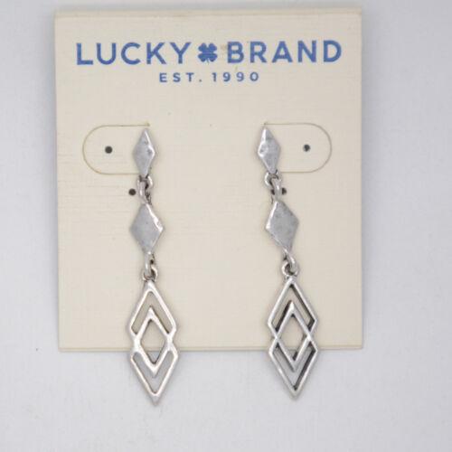 Lucky Brand Bijoux Antique Vintage Ton Argent Clous d/'oreilles Drop Dangle Hoops