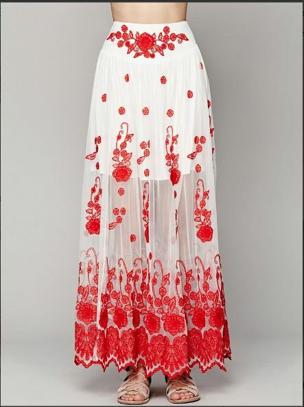 FREE PEOPLE   Red White  English Garden Maxi Skirt ☮ XSMALL