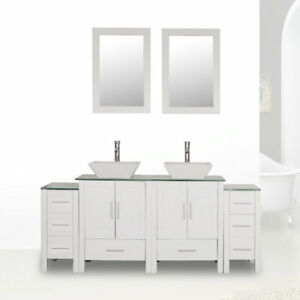 72 White Bathroom Vanity Cabinet Glass Top Double Sink Painted W