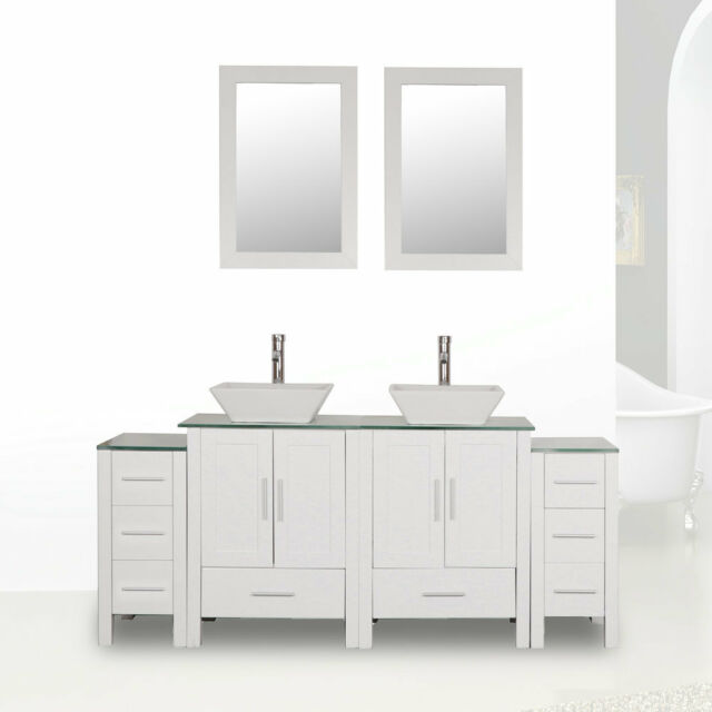 Swell 72 White Bathroom Vanity Cabinet Glass Top Double Sink Painted W Faucet Mirror Home Interior And Landscaping Synyenasavecom