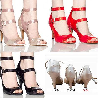 Lady Women's Satin Prom Tango Ballroom Latin Salsa Dance Heels Shoes Noble Red