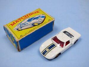 Matchbox-Ford-GT40-Racer-Original-no-41-Coleccion-Coche-de-Juguete-MKIII-azul-a-rayas