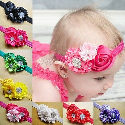 10PCS Girls Baby Toddler Infant Rose Flower Headband Hair Bow Band Accessories