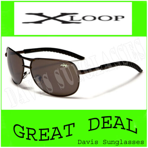 Men/'s Aviator X Loop Sunglasses XL13504 UV400 Davis E5 brown womens sunnies