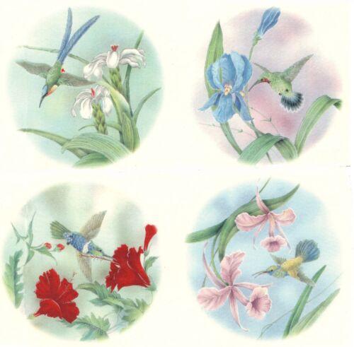 "Hummingbird Flower Blue Sky 4 pcs 7-1//2/"" Waterslide Ceramic Decals Xx"