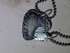 Couples sterling silver guitar pick necklace and interlocking heart
