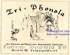 Klavier Hupfeld Reklame 1923 Margarethe Werbung Tri Phonola +