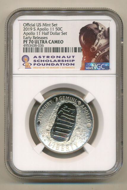 2019 S APOLLO Half Dollar NGC PF70 UCAM ER from set - ASF Astronaut label Proof