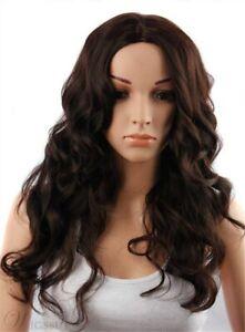 100-Human-Hair-Natural-Long-Wavy-Dark-Brown-Fashion-Women-s-Wig