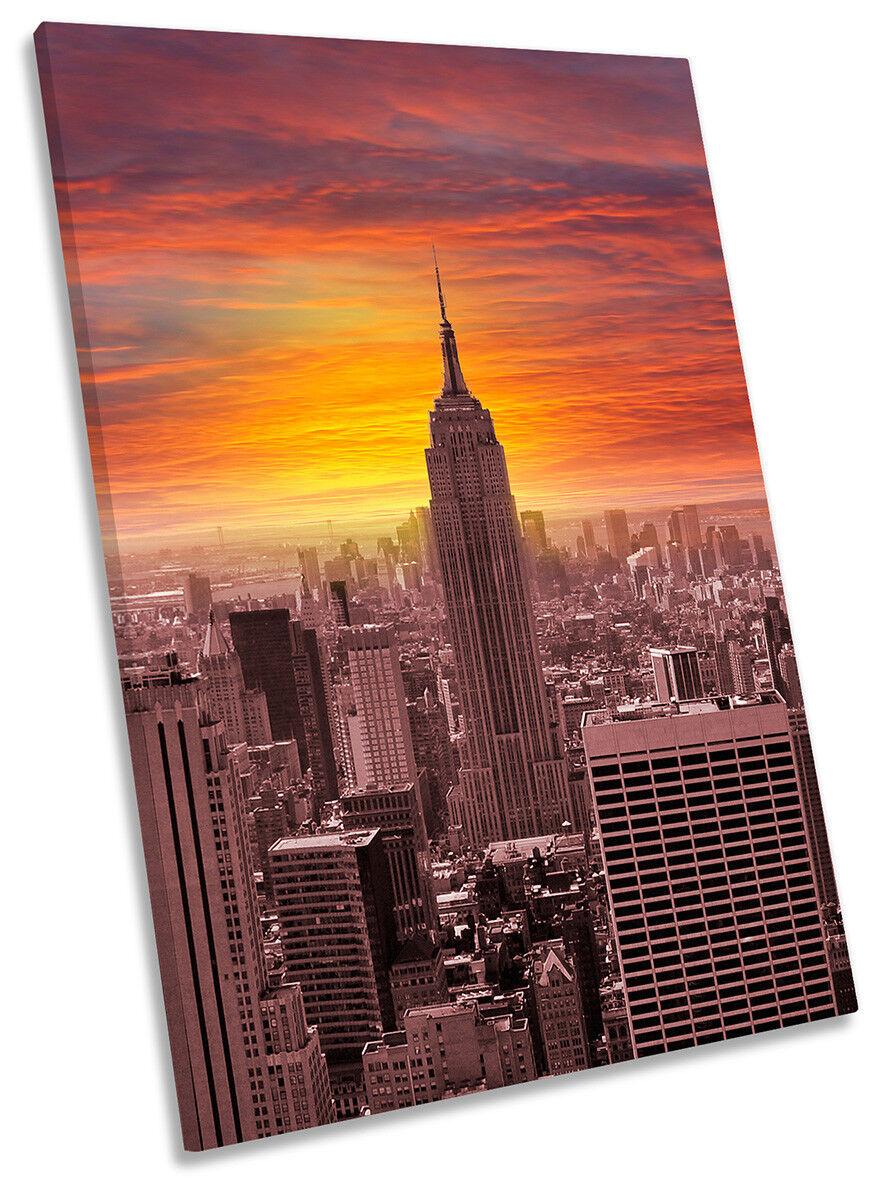 Naranja Puesta De De De Sol Ciudad de Nueva York imagen LONA parojo arte retrato de impresión 2bbefc