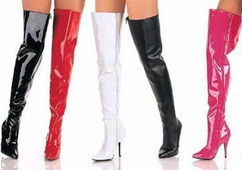 """Seduce 3010 Single Sole 5/"""" High Heel Thigh High Boots 6-16 Red Black White Pink"""