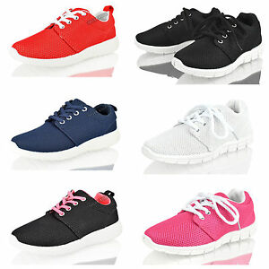 bac59845e1d Girls Boys kids Trainers Unisex Lace up Running Sports Pumps Fashion ...