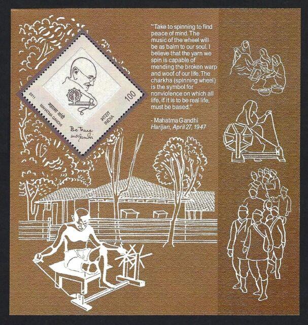 India 2011 100rs Gandhi Miniature Sheet With Khadi (cloth) MNH