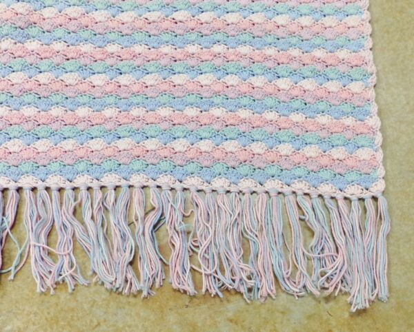 Crochet Afghan Blanket Throw Shell Pattern Handmade 76x 48 Pastel