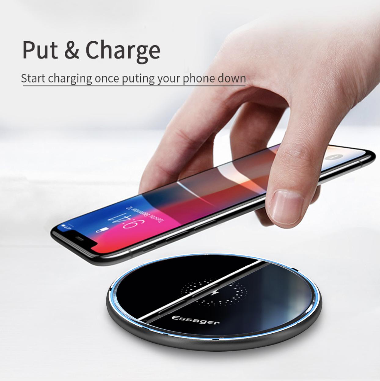 Chargeur Sans Fil Rapide Essager 10W QI Pour iP...