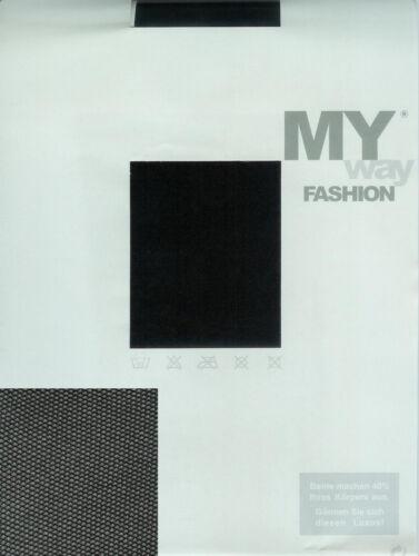schwarz 42-44  *MY way* EDEL Strumpfhose mit feinem Netzeffekt transparent