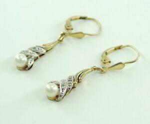 Vintage-Ohrringe-mit-Perlen-amp-Diamanten-333er-8-Karat-Gelbgold-amp-Weissgold