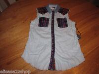 Kendall & Kylie Juniors Womens S Sleeveless Button Up Top Shirt Rn090233 Nwt^^
